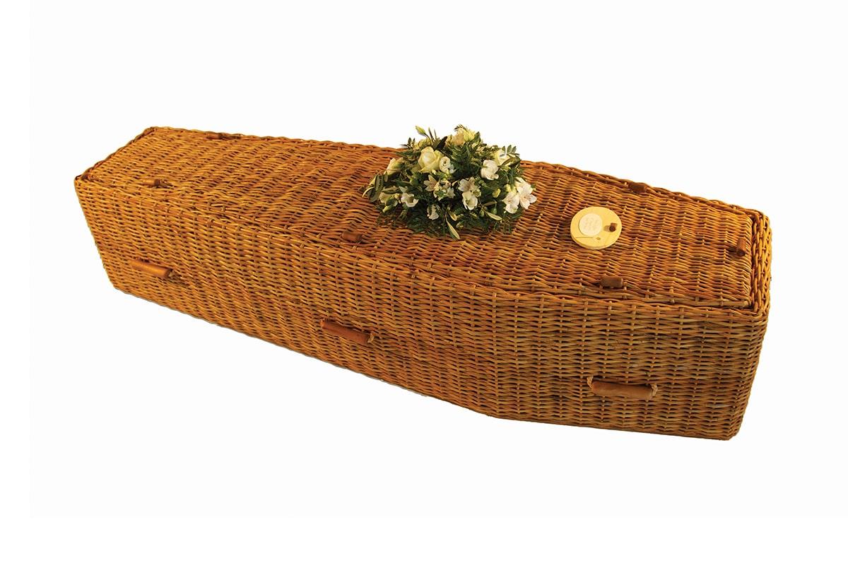 Premium Wicker Coffin - Golden or Grey
